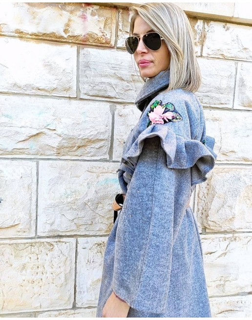 WOOL  EMBELLISHED COAT