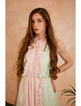SILK PASTEL DRESS WITH FRILLS