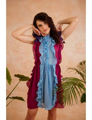 SILK COLOUR BLOCK  DRESS