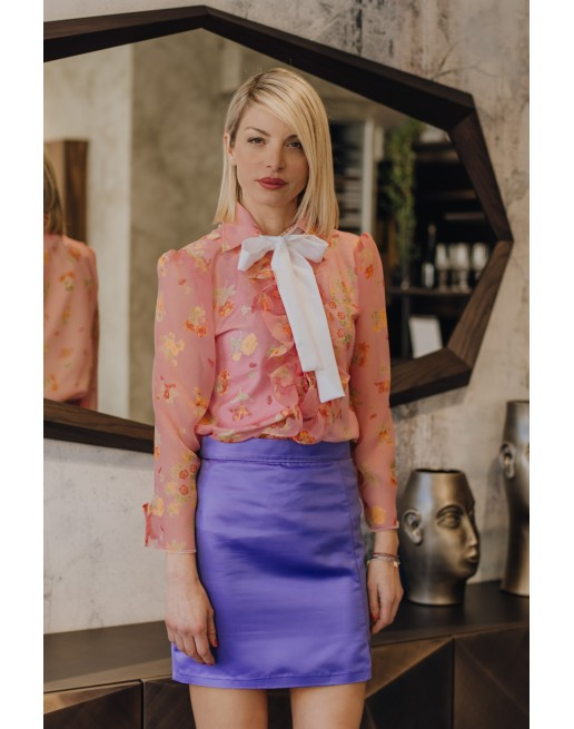 FLORAL PINK SILK BLOUSE