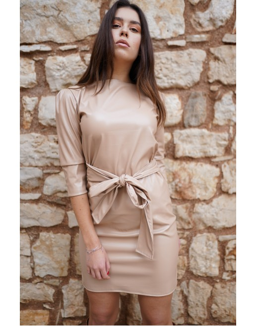 EKO LEATHER DRESS WITH BELT