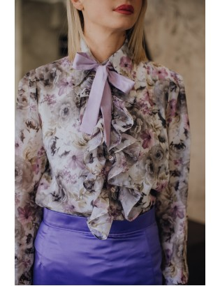FLORAL BLOUSE WITH VIOLET BOW TIE