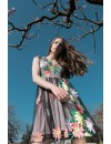 FLOWER TULLE DRESS with embroidery