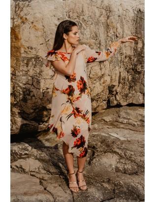 FLOWER PRINT CHIFON DRESS