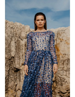 MIDI LACE DRESS WITH EMBROIDERED FLOWERS