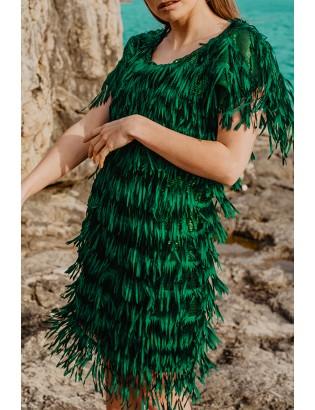 GREEN FRINGE DRESS