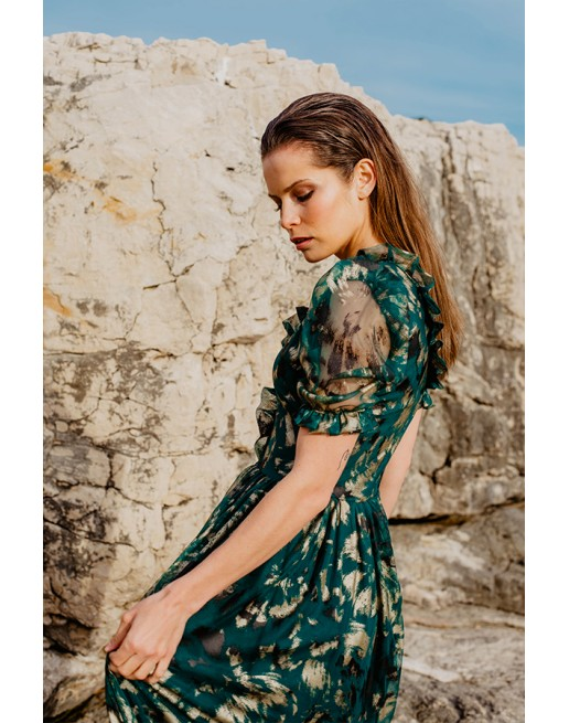 GREEN TULLE PRINT MIDI DRESS