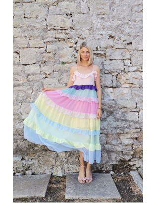 RAINBOW RUFFLE DRESS