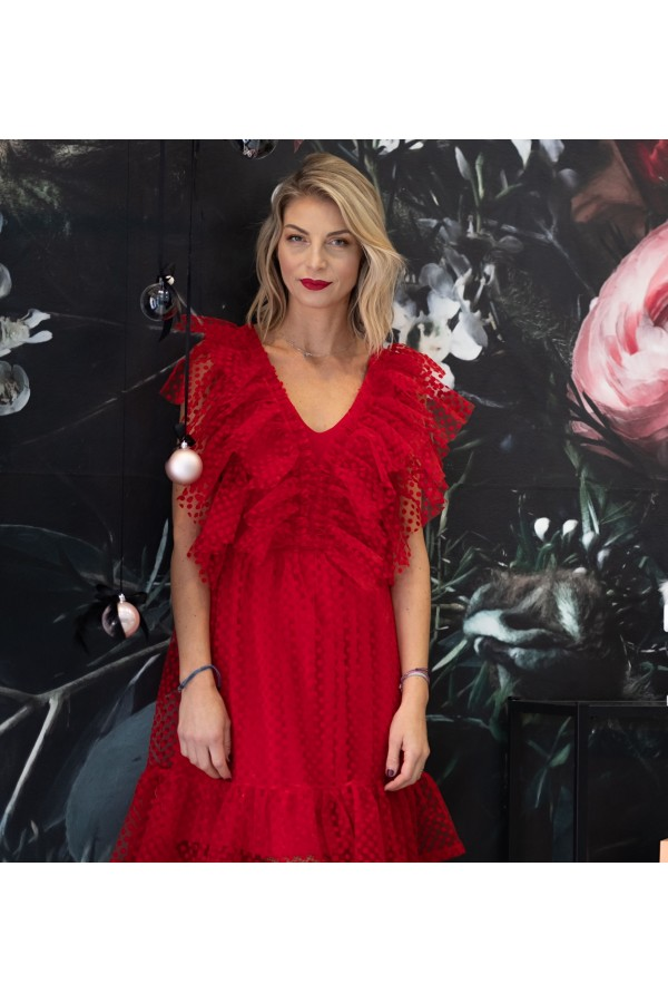 RED RUFFLE TULLE DRESS
