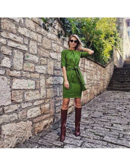 ECO LEATHER GREEN DRESS WITH BELT