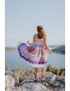 MIDI RUFFLE RAINBOW DRESS